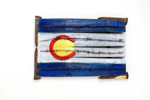 Colorado Flag, sculpture, barbed wire, horshoe, antique railroad spikes