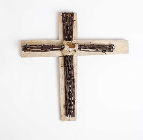 Cross of many strands - antique barbed wire