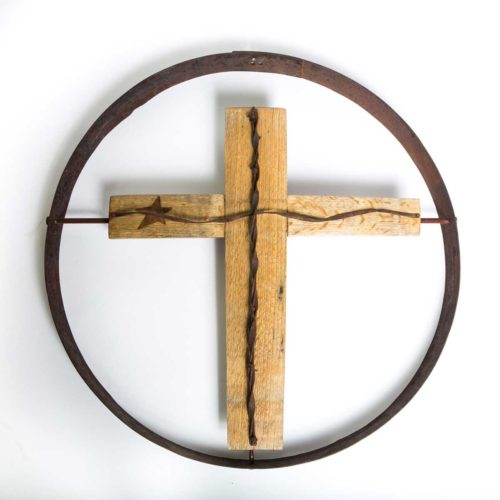 Cross - wood, antique barbed wire
