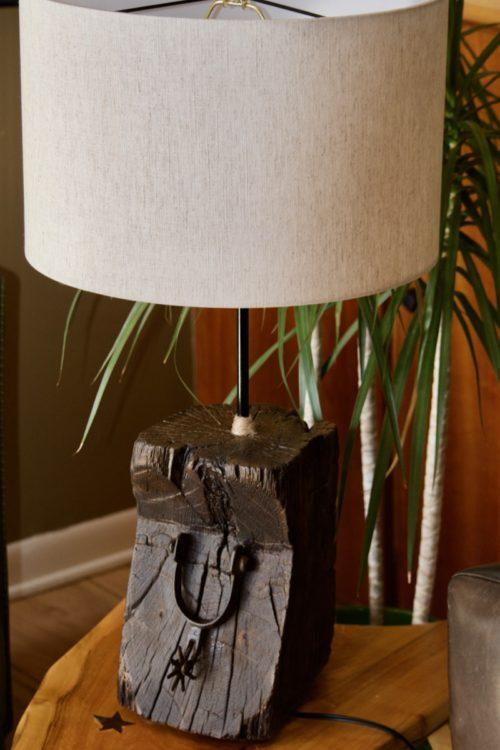 Cowboy Spur Lamp hand hewn antique barnwood