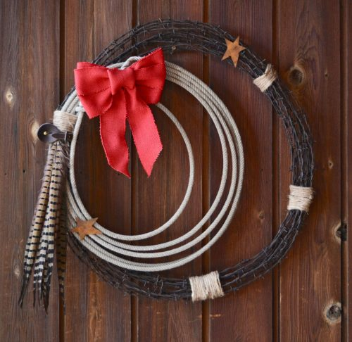 wreath, barbed wire, lariat western Poorman Christmas
